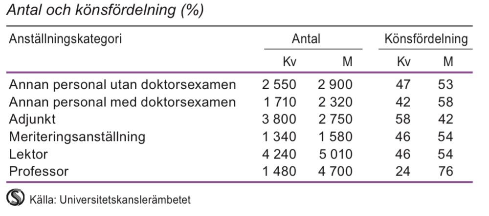 Forskande och undervisande personal i högskolan efter anställningskategori 2013
